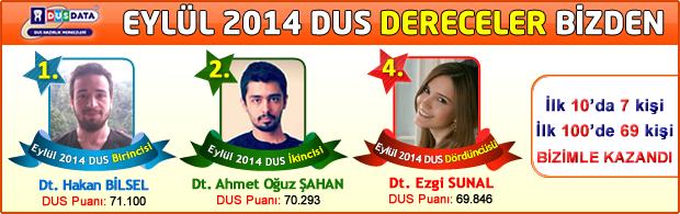Eyl�l 2014 DUS Dereceleri DUSDATA'dan